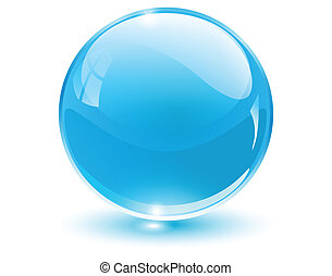 3D crystal sphere blue, vector illustration.