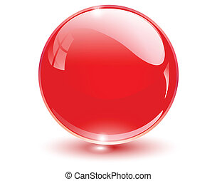 3D crystal sphere red, vector illustration