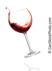 Wine collection - Red wine in falling glass Isolated on...