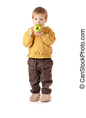Baby with green apple