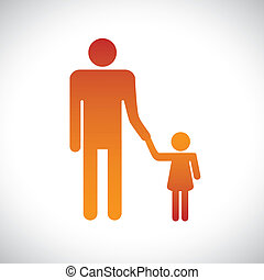 Concept illustration of father and daughter together This...