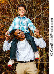 African-American father and son
