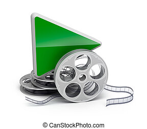 Play button and movie reel isolatd 3D icon