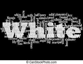 White - A simple collage of different words describing the...