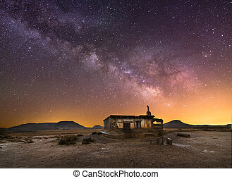Shepherd hut at desert night near Pamplona, Spain