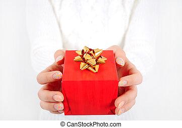 Gift in girl hand