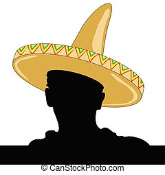 mexican man silhouette with sombrero vector illustration
