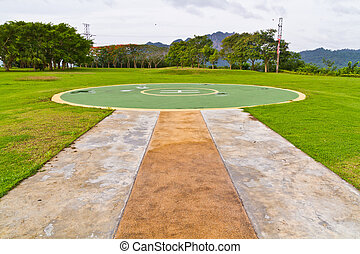 Helicopter landing pad  a circular in lawn