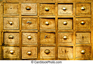 Many wood drawer box - Many of the ancient wooden drawers...