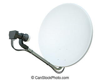 Satellite dish - White satellite dish isolated on a white...