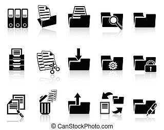 black folder icons set - isolated black folder icons set...