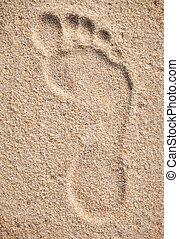 Single footprint on sand beach