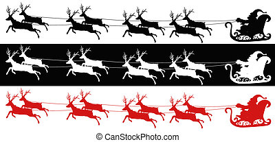 Santa sleigh and reindeers - 3 different kind of colors of...