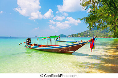 longtail boat and beautiful beach. koh Tao, Thailand