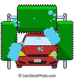 Car wash - Cartoon illustration of a car inside a car wash