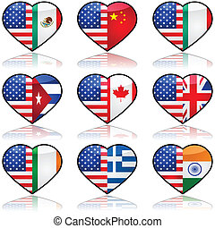 USA divided love - Icon collection showing the flag of the...