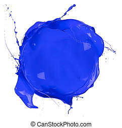 Isolated shot of blue paint blob on white background