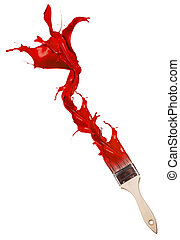 Red paint splashing out of brush. Isolated on white background