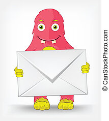 Funny Monster. Postman. - Cartoon Character Funny Monster...