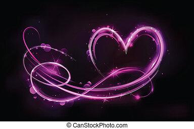Glowing Heart - illustration of swirly glowing heart on...