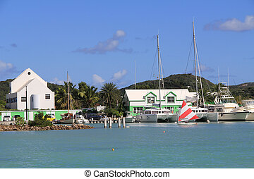 Falmouth Harbour Marina Antigua Bar - Wind surfer sailing in...