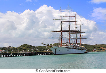 Large Sailing Ship in Antigua Barbu - Large sailing ship...