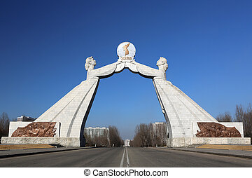 The Reunification Monument in Pyongyang, North Korea Erected...