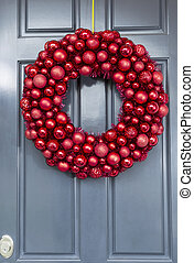 Bright Red Ball Ornaments Wreath - Red ball ornaments wreath...