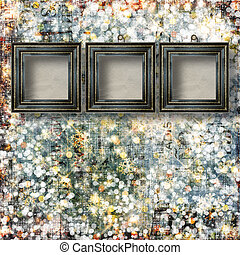 Old Victorian frames on the abstract winter background with confetti