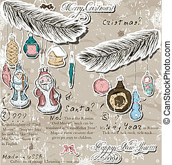 Poster with vintage Christmas decorations. Vector...