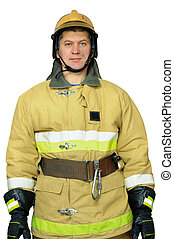 Firefighter standing with a remission of his hands. Isolated...