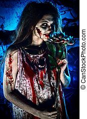 massacre - Pretty woman zombie standing at the night...