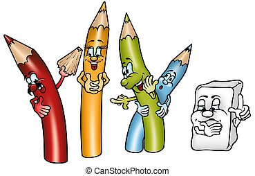 Happy Crayons - colored cartoon illustration