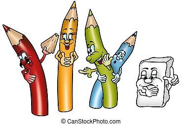 Happy Crayons - colored cartoon illustration