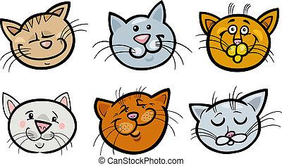 Cartoon funny cats heads set
