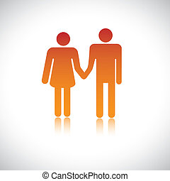 Illustration of husband wife holding together. This graphic...