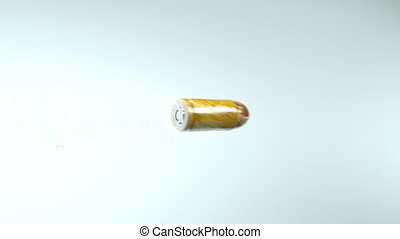 Shot and firing: flying bullet with slow motion Alpha is...