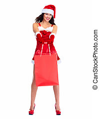 Santa helper Christmas girl with shopping bags.