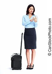 Business woman. - Business woman with a suitcase isolated on...