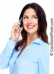 Happy business woman with cell phone. - Happy business woman...