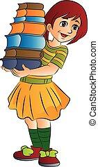 Girl Carrying Books, illustration