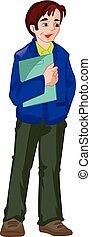 Man Holding a Folder, illustration