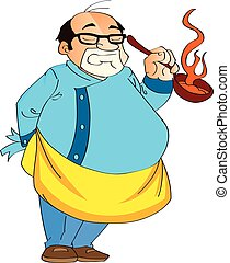 Male Cook Holding a Hot Pan, illustration