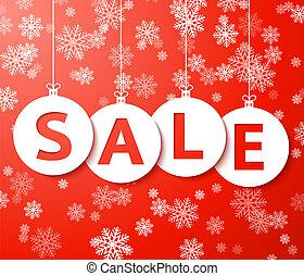 Christmas sale balls with snowflake Vector. - Christmas sale...