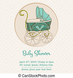Baby Shower or Arrival Card with Place for your text in vector
