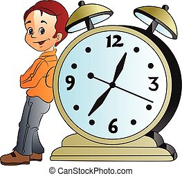 Man Leaning on a Giant Alarm Clock, illustration - Young Man...
