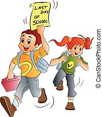 School Kids, illustration - School Kids Excited About the...