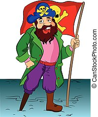 Pirate Holding a Flag, illustration - One-legged Bearded...