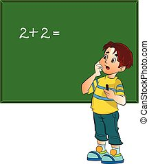 Boy Solving a Math Problem, illustration - Boy Solving a...