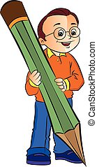 Boy with a Giant Pencil, illustration
